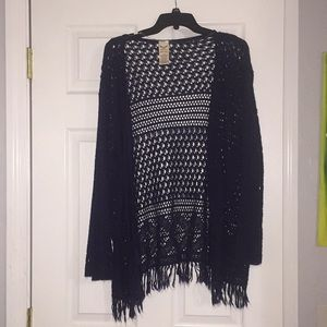 Navy Long Sleeve Crocheted Sweater